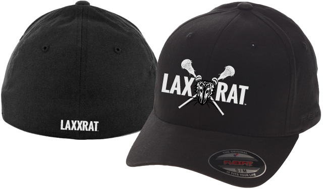 Black fitted LAXXRAT hat with the full logo embroidered on the front and LAXXRAT embroidered on the back