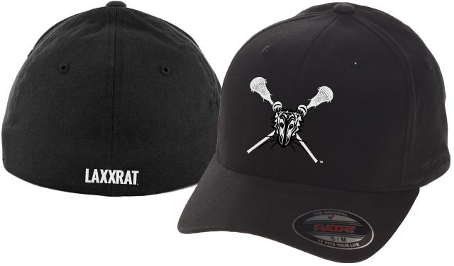 Black fitted LAXXRAT hat with the rat logo embroidered on the front and LAXXRAT embroidered on the back