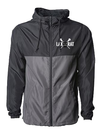 LAXXRAT full logo on the left chest of a waterproof, hooded, full zip, two tone windbreaker in silver and black