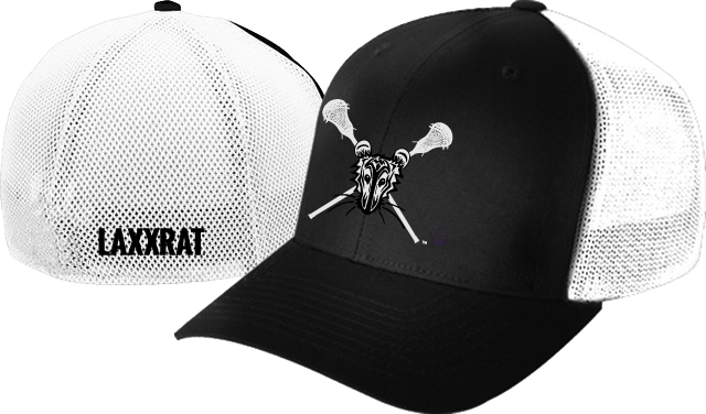 Black and white, mesh back fitted LAXXRAT hat with the rat logo embroidered on the front and LAXXRAT embroidered on the back