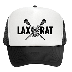 Black and White LAXXRAT Trucker hat with the full logo screen printed on the front.