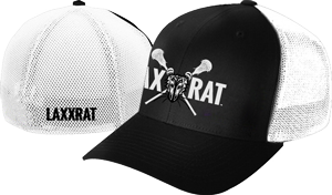 Black and white, mesh back fitted LAXXRAT hat with the full logo embroidered on the front and LAXXRAT embroidered on the back